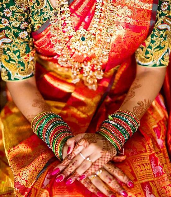 16. Contrast Pattu Blouse Embroidery