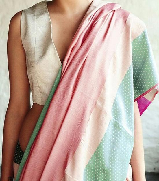 17. Plain Sleeveless Blouse For JuteSilk Sarees