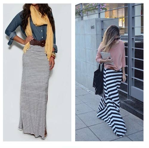 19. Black Horizontal Striped Maxi Skirt