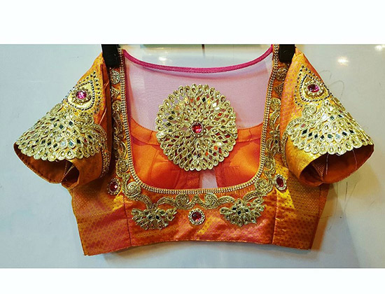 19. Half Sleeves Pattu Blouse With Sheer Design Embroidery