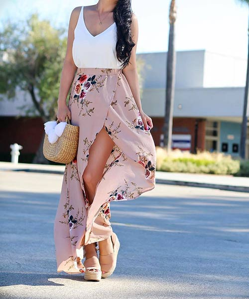 2. Chiffon Maxi Skirt With A Center Split