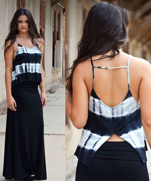 20. Plain Black Maxi Skirt With A Tie & Dye Top