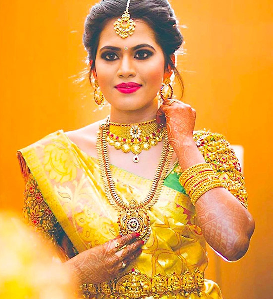 20. Yellow Kanjeevaram Saree With Zardozi Work Blouse