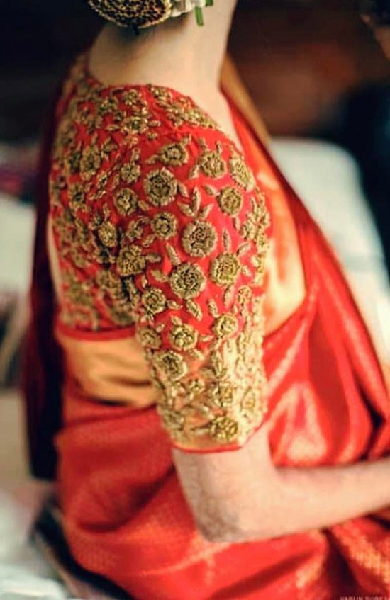 22. Red Pattu Saree Blouse With Golden Embroidery