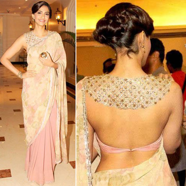 24. Open Back Satin Blouse - Sonam Kapoor Style