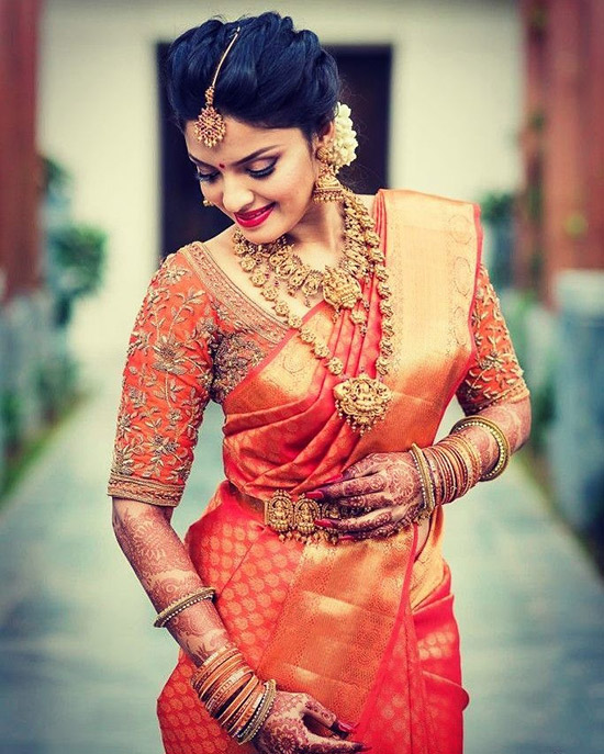 25. Red Saree With Burnt Orange Blouse