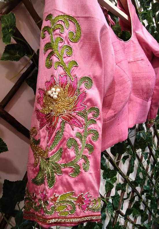 28. Threadwork Blouse Designs For Uppada Pattu Or Jute Sarees