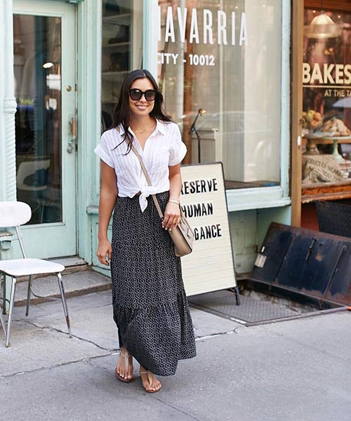 3. Black Printed Maxi Skirt With A White Shirt