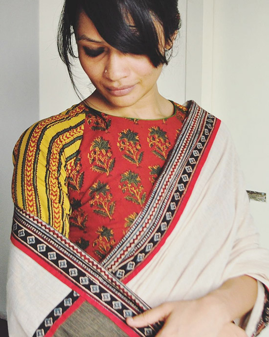 a0b32a72894c65 3. Patch Work Blouse Designs For CottonSilkChiffon Sarees