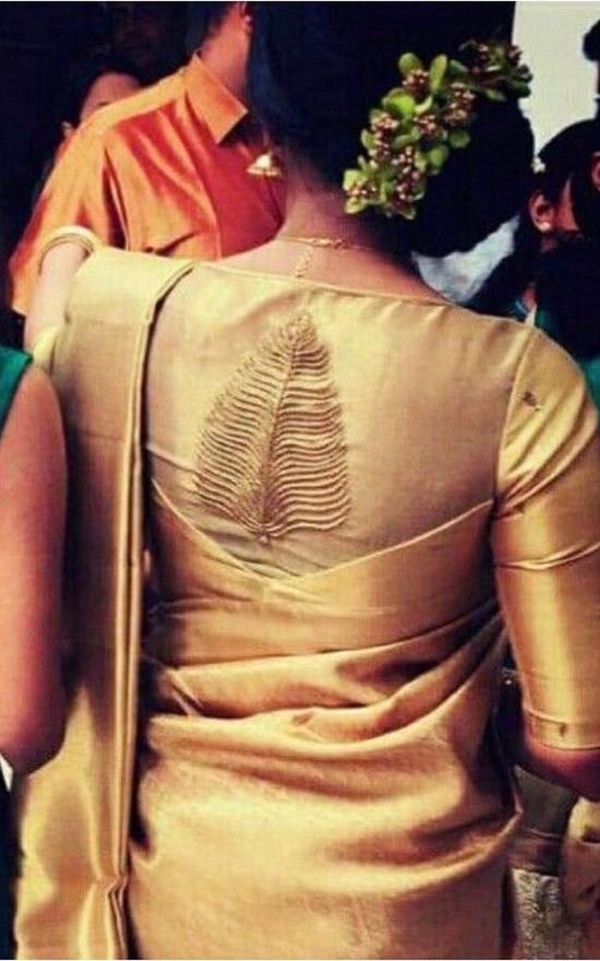 31. Patch Work Blouse Design For Tussar Silk Saree