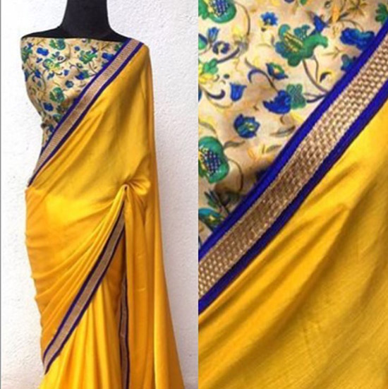 32. Floral Raw Silk Blouse For Plain ChiffonRaw Silk Sarees