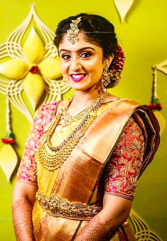 38. Gold Bridal Pattu Saree With Pink Blouse