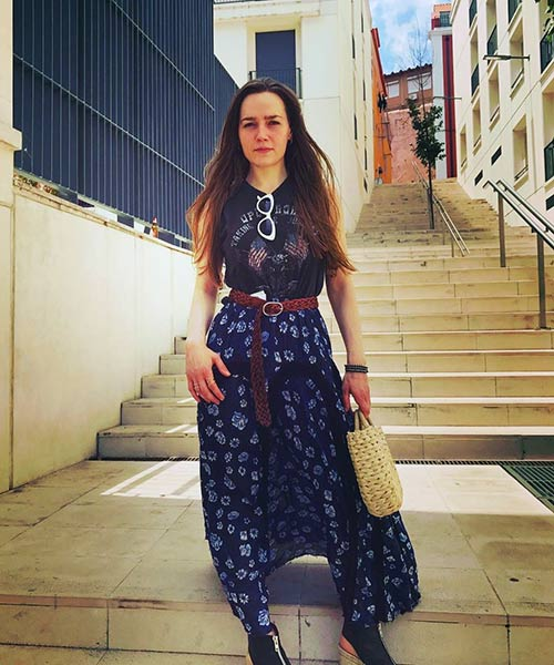 4. Blue Printed Maxi Skirt With A Belt
