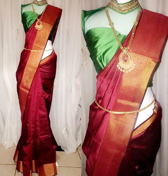 41. High Neck Sleeveless Blouse For Pattu Zari Saree