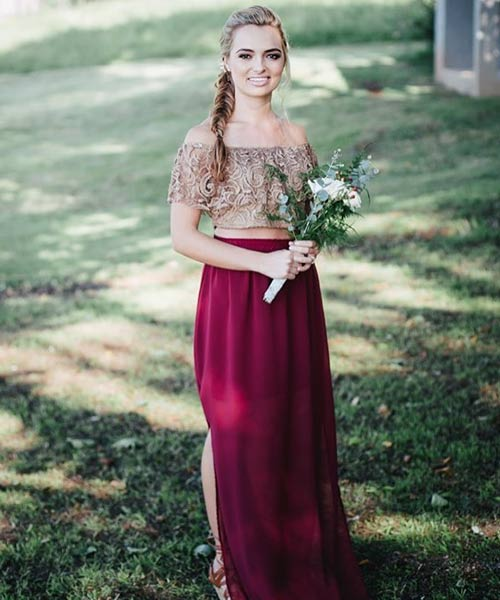 5. Burgundy Maxi Skirt With An Off Shoulder Top