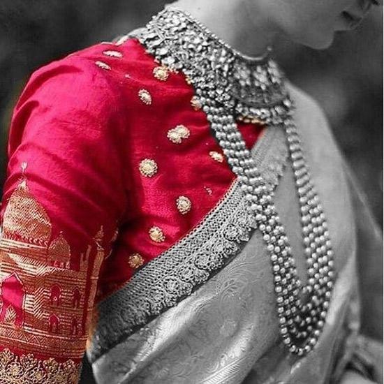 5. Contrast Designer Blouses For Silk Saree