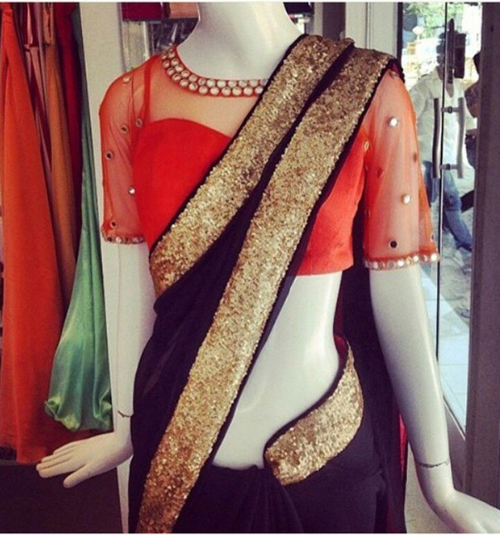 6. Net Blouse Designs For Party WearSilk Sarees