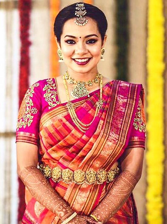 7. Kanjeevaram Saree With Embroidered Blouse Design