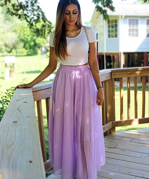 8. High Waisted Maxi Skirt With A Plain White Top