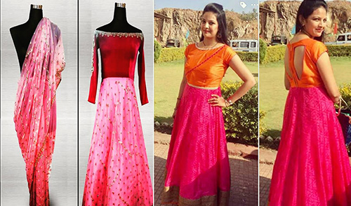 9. Anarkali Dresses With Old Sarees Are Amazing Options Too