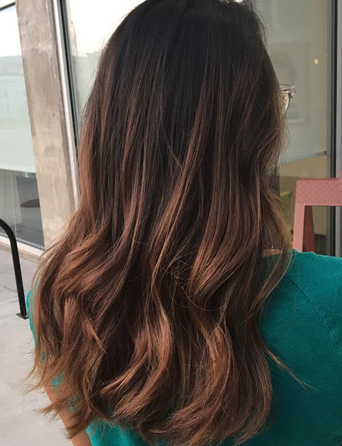 Chocolate brown hair color with lowlights