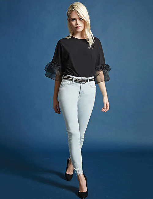 1. High-Rise Jeans And Flowing Top