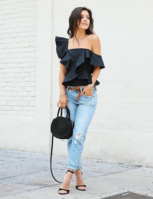 1. With An Off Shoulder Top