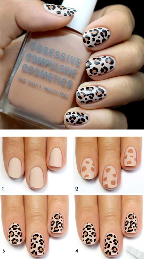 50 creative acrylic nail designs with step by step tutorials leopard print nail design tutorial acrylic nails prinsesfo Image collections