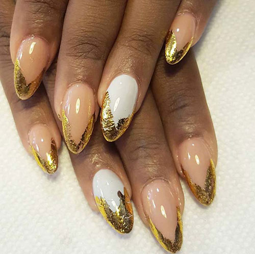 Golden Foil Acrylic Nail Tips