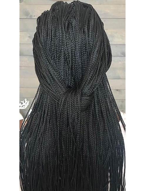 18. Simple Black Half Knotted Micro Braids