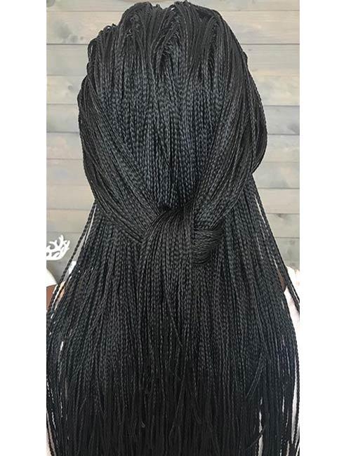 18. Simple Black Half Knotted Micro Braids