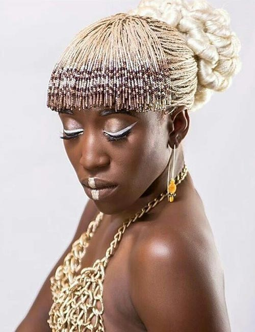 19. Beaded Micro Braids Bun