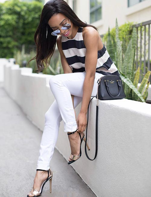 19. With A Striped Top