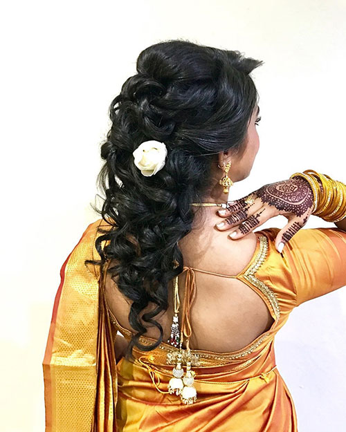 Hairstyles To Complement Your Saree - Half Up Curls