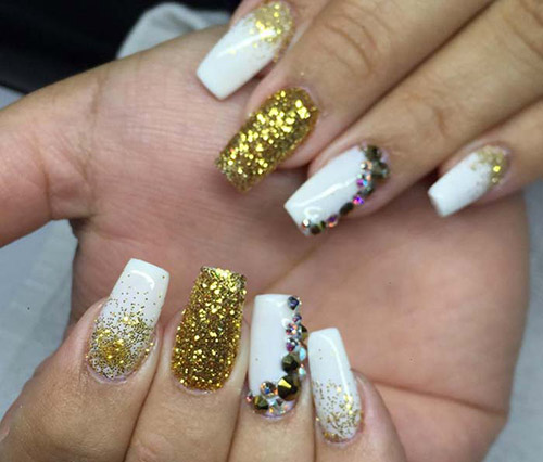 All That Glitters Is Gold - Acrylic Nail Designs - 50 Creative Acrylic Nail Designs With Step By Step Tutorials