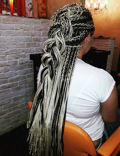 20. Black And White Micro Braids Half Dutch Braid