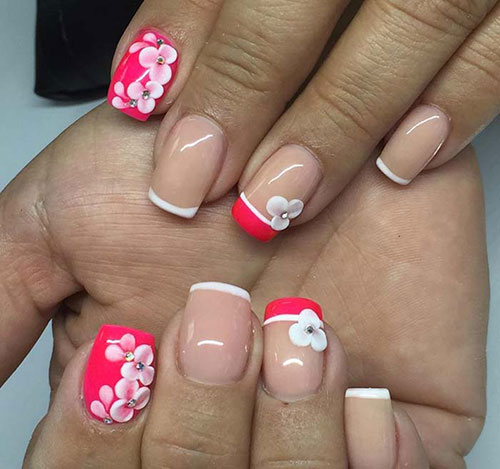 Red Acrylic Nails With Floral Patterns