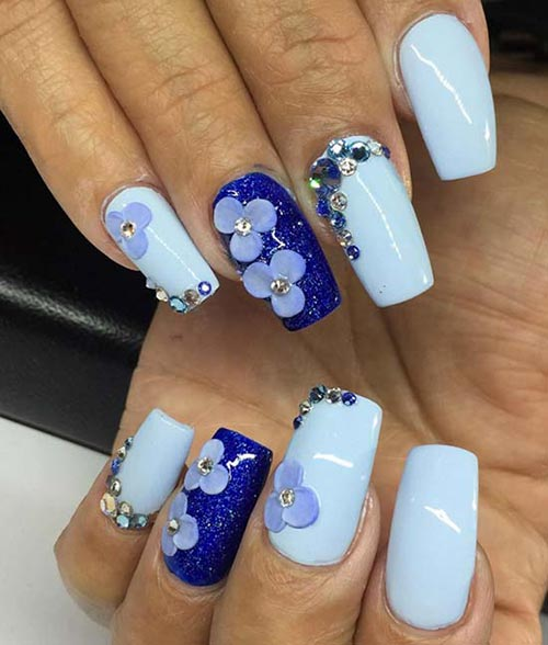 Blue Acrylic Nails With Flowers Pinit