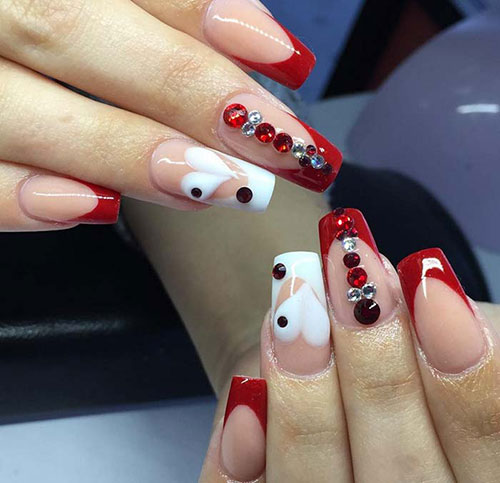 50 creative acrylic nail designs with step by step tutorials heart acrylic nails with red tips valentines acrylic nail designs prinsesfo Image collections