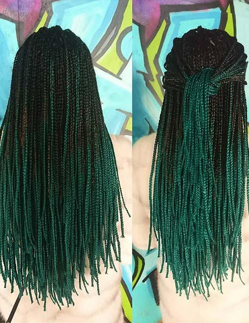 3. Emerald Green Micro Braids Half Knot