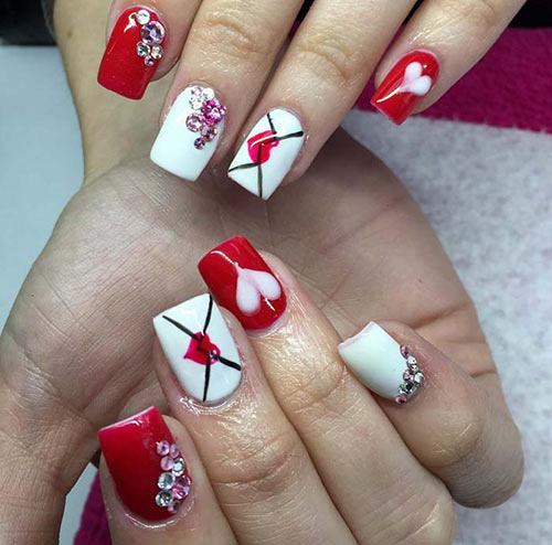 Valentines Acrylic Nails with Love Letters