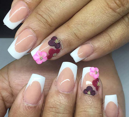 Floral Accent French Tips