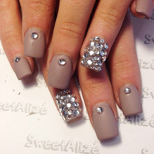 Rhinestone Accent Nails