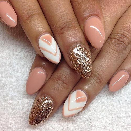 Rose Gold Glitter Acrylic Nail Design