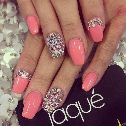 50 creative acrylic nail designs with step by step tutorials chunky rhinestones with pink nails acrylic nail designs prinsesfo Choice Image