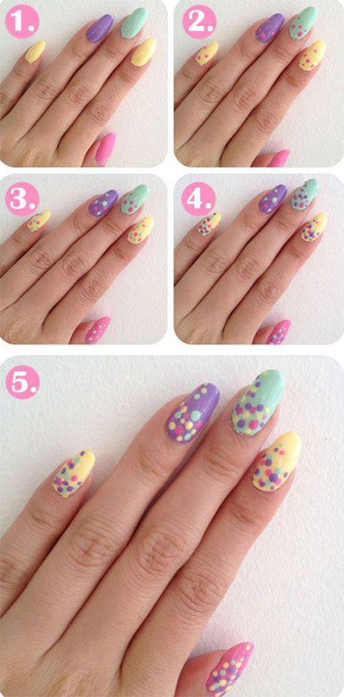 Rainbow Polka Dots - Acrylic Nail Designs