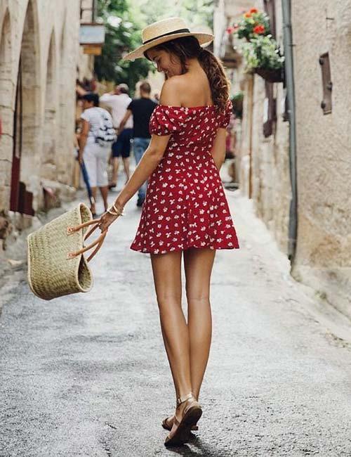 4. Red Floral Off Shoulder Dress