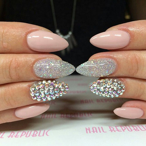 50 creative acrylic nail designs with step by step tutorials glitter and rhinestone almond nails acrylic nail designs prinsesfo Choice Image