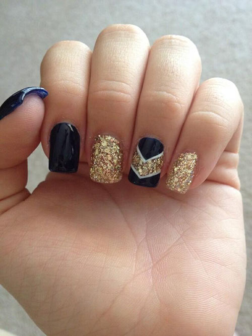 50 creative acrylic nail designs with step by step tutorials navy blue and gold royalty acrylic nail design prinsesfo Choice Image