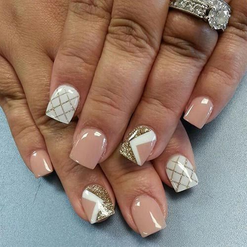 Criss Cross Acrylic Nail Art